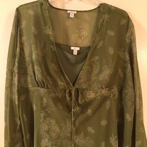 Apt 9 Kohl's Green sheer blouse 2X